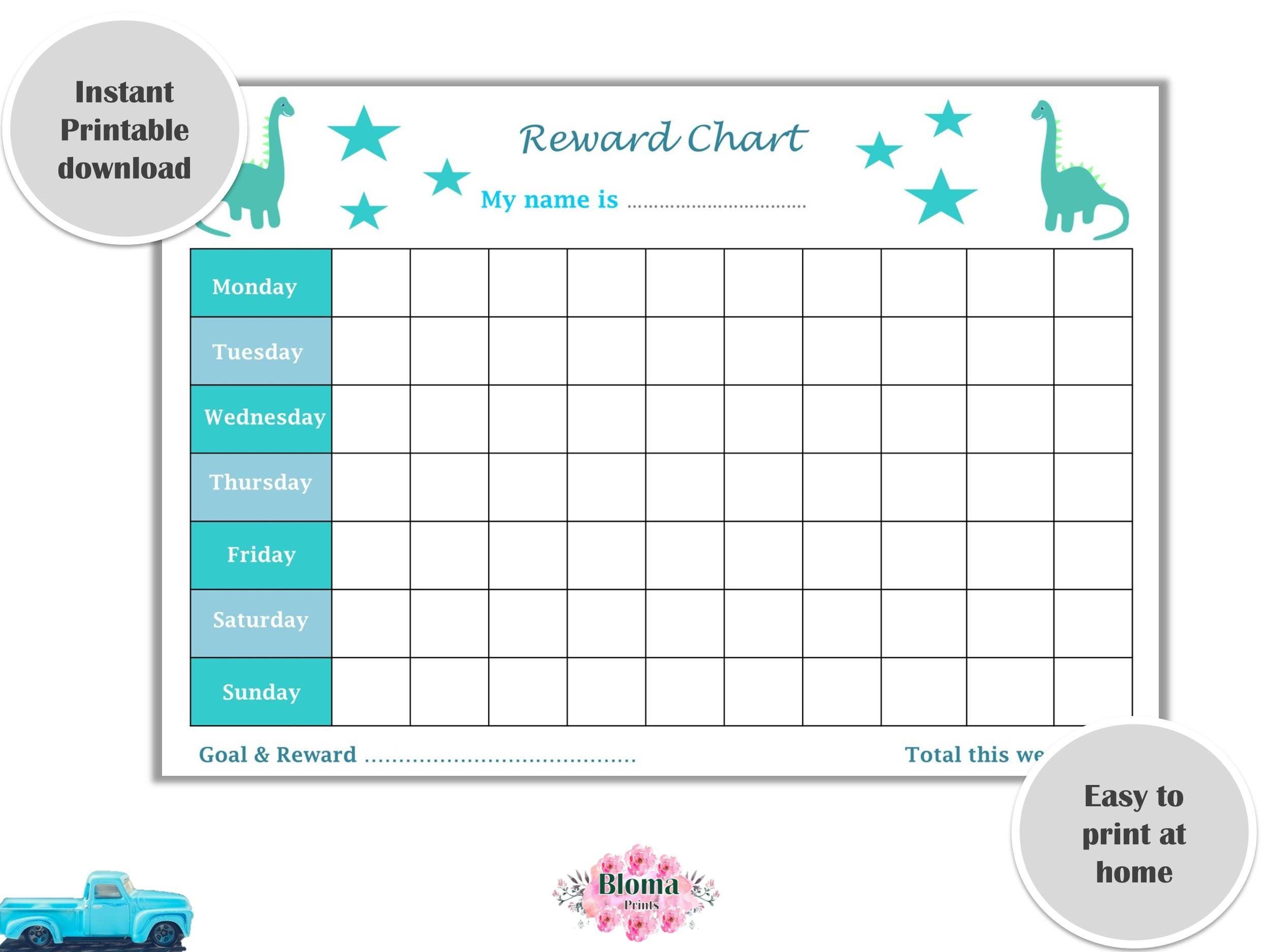 Reward Chart Dinosaurs Printable Children Kids Reward Chart