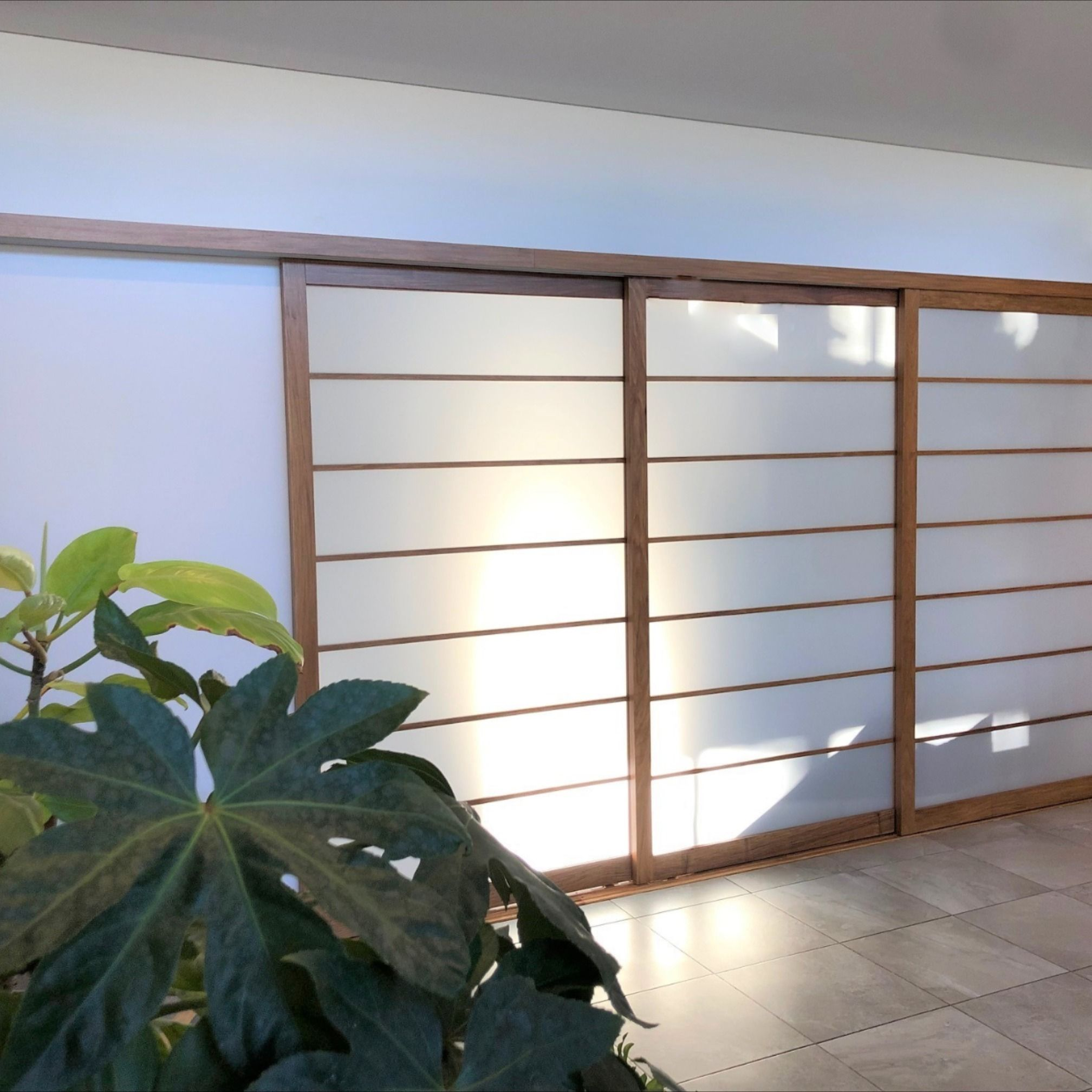 Shoji Screens add a touch of elegance to this space. This