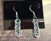 """Chainmaille Earrings, Helm Weave, Green Anodized Aluminum and Bright Aluminum, 20g 1/8"""" and 3/16"""" Jump Rings"""