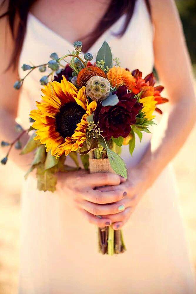 Beautiful Rustic/Boho Wedding Bouquet Featuring: Yellow ...
