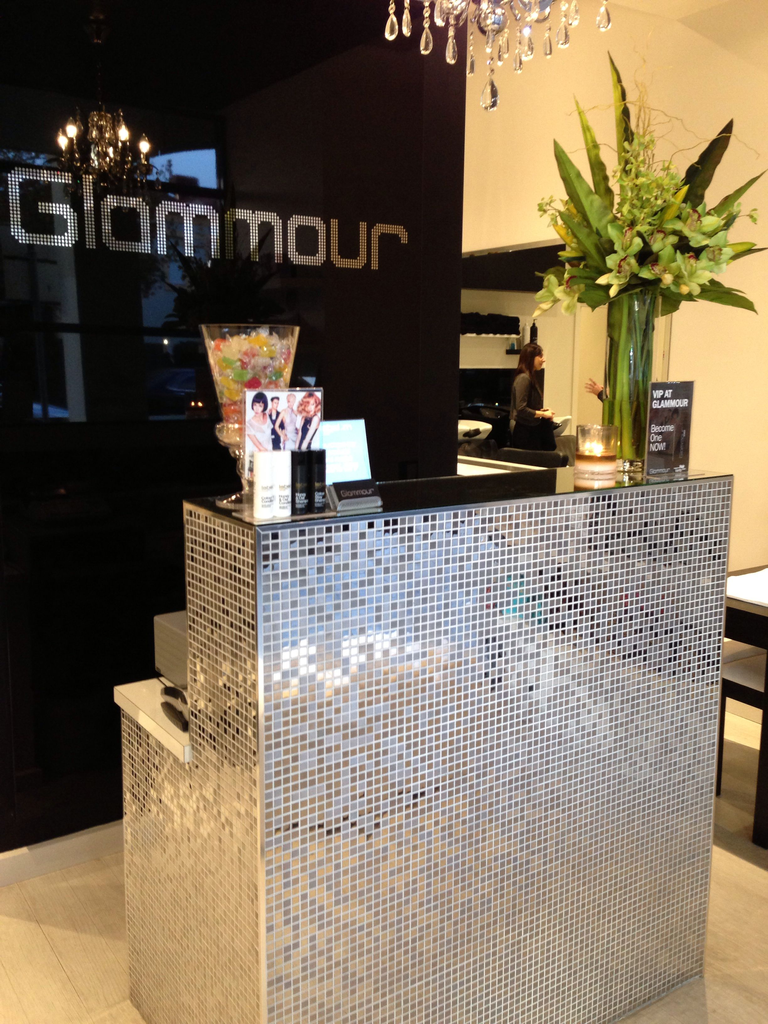 Our very glam reception front desk | business nesting ideas | Nail ...