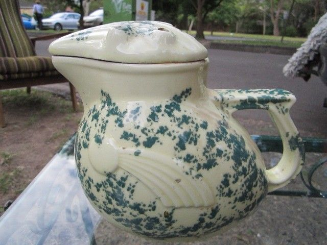 Vintage Kookaburra Art Deco 1930s Mottled Australian Pottery Electric Kettle Jug Pottery Vintage Pottery Vintage Ceramic