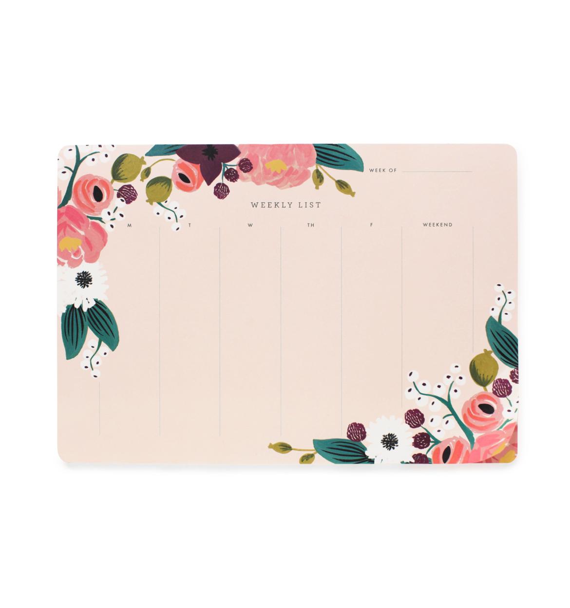 Pink Floral Weekly Deskpad.