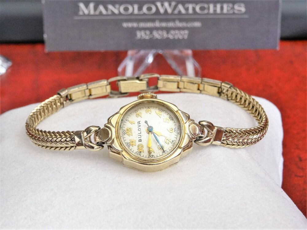 Vintage Bulova 10k Rolled Gold Plate Swiss Ladies Watch W 10k Gold Filled Band Bulova Dressformal Womens Watches Rolled Gold Bulova