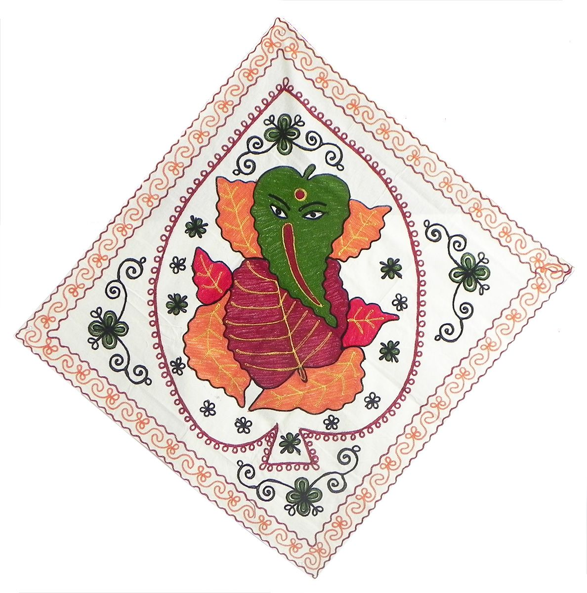 Cloth Wall Hangings embroidered leaf ganesha on cotton cloth - wall hanging (cloth