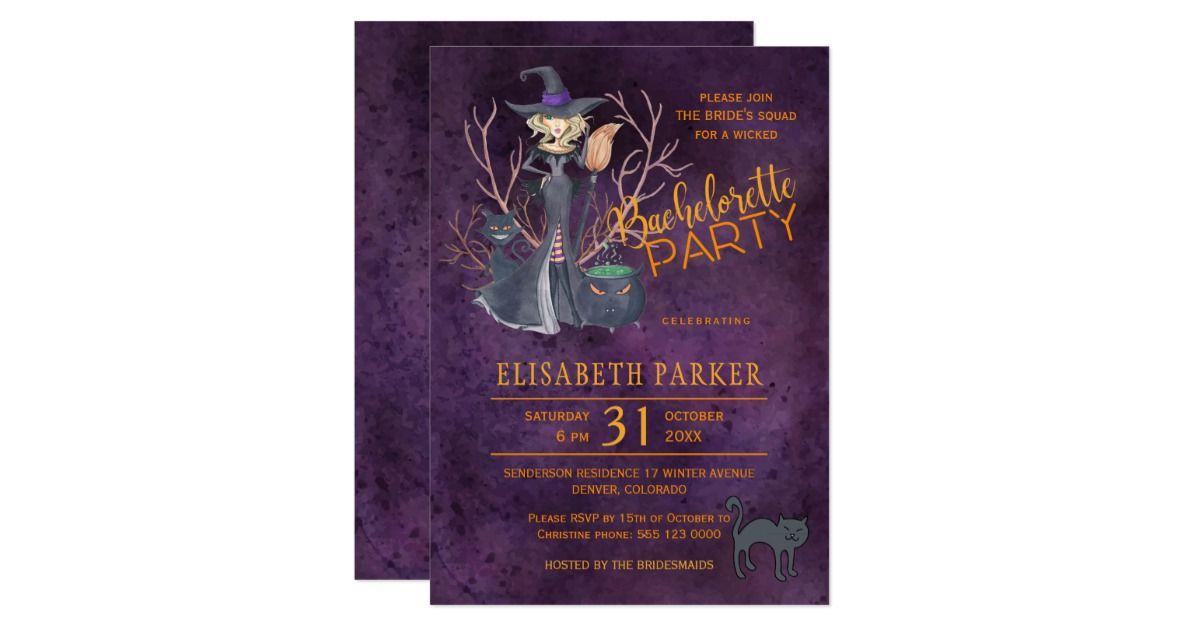 Witch watercolor Halloween bachelorette party Card   Bachelorette ...