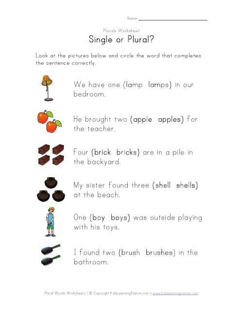 Single Or Plural Worksheet Plurals Plurals Worksheets Worksheets For Kids