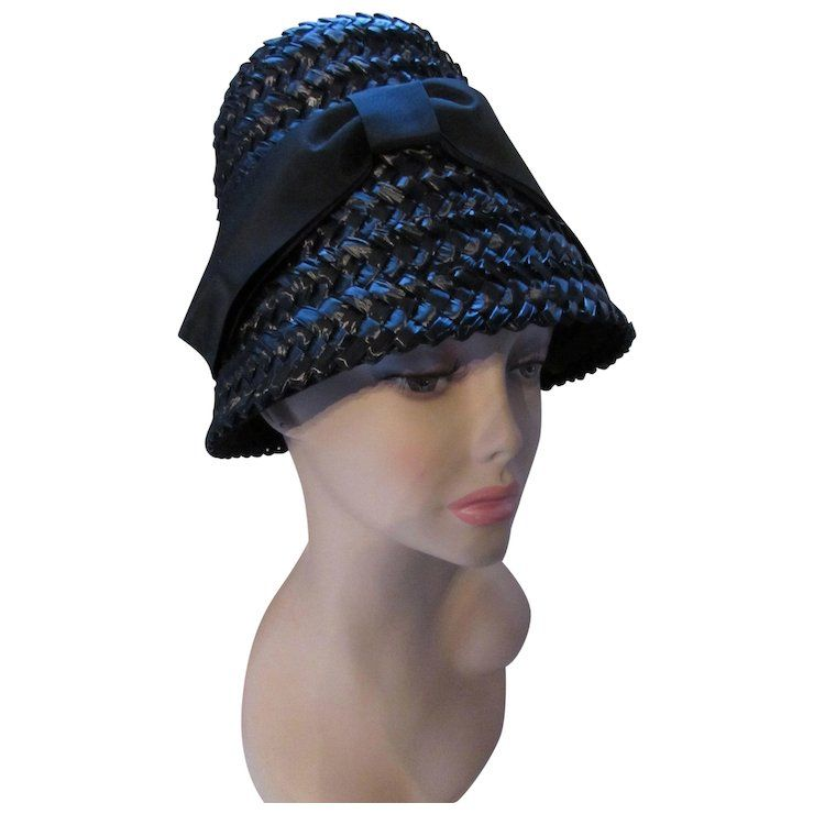 13352c1c4 Iconic 1960 Look Lampshade Bucket Beehive Hat in Black Woven ...