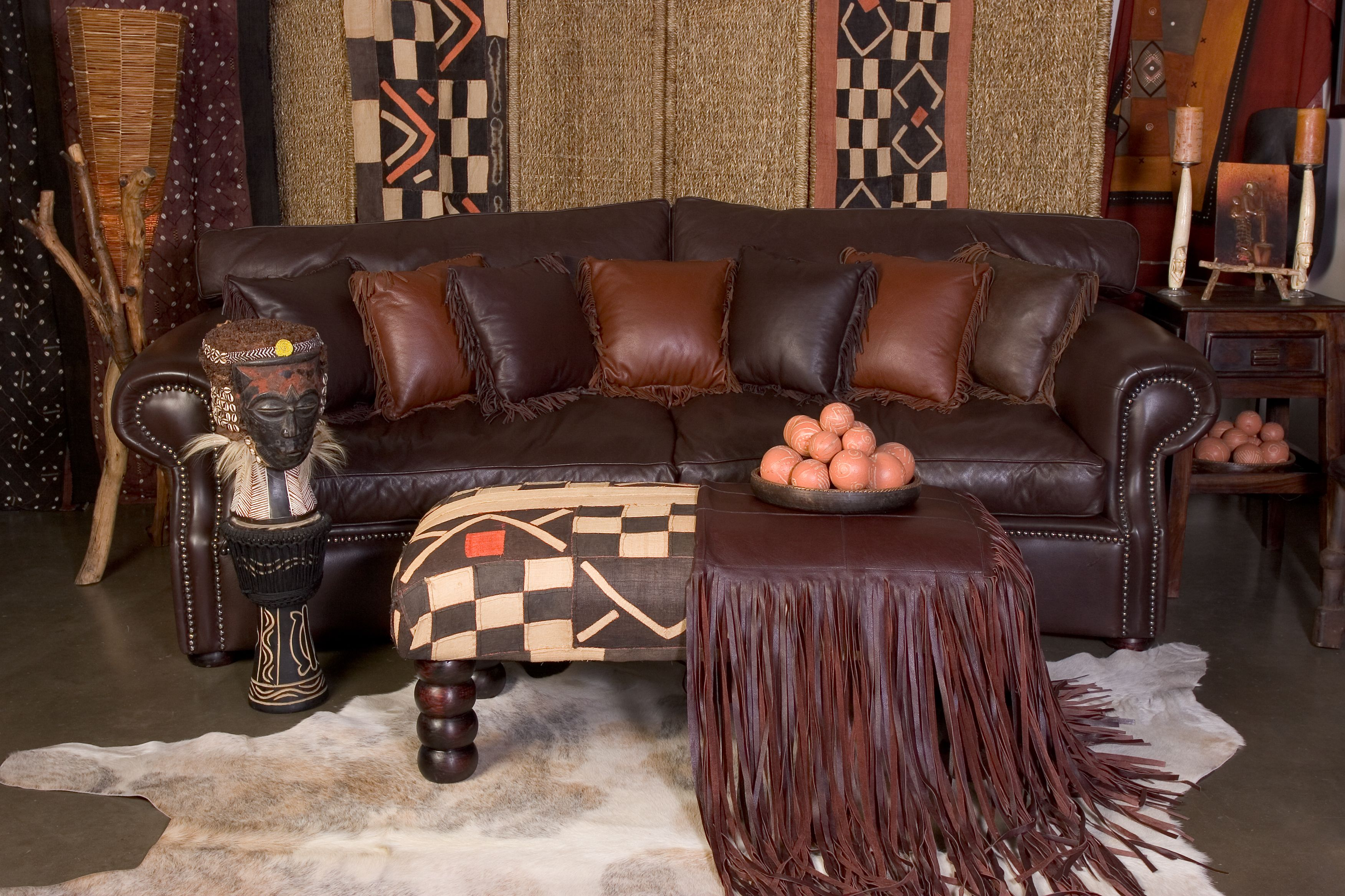 Leather Wingback Chairs South Africa Hardwood Floor Chair Leg Protectors Kudu Sofa Pillows Nguni Skin