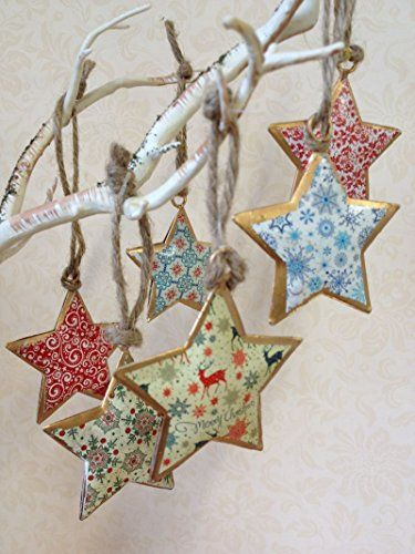 Set Of 6 Vintage Christmas Hanging Metal Ornament Tree / https