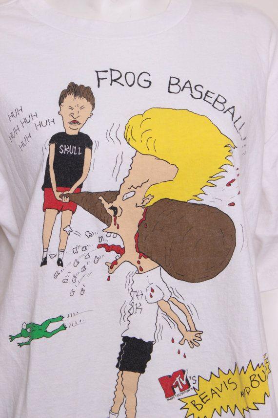 Vintage Beavis And Butthead Frog Baseball Mtv Tshirt Size