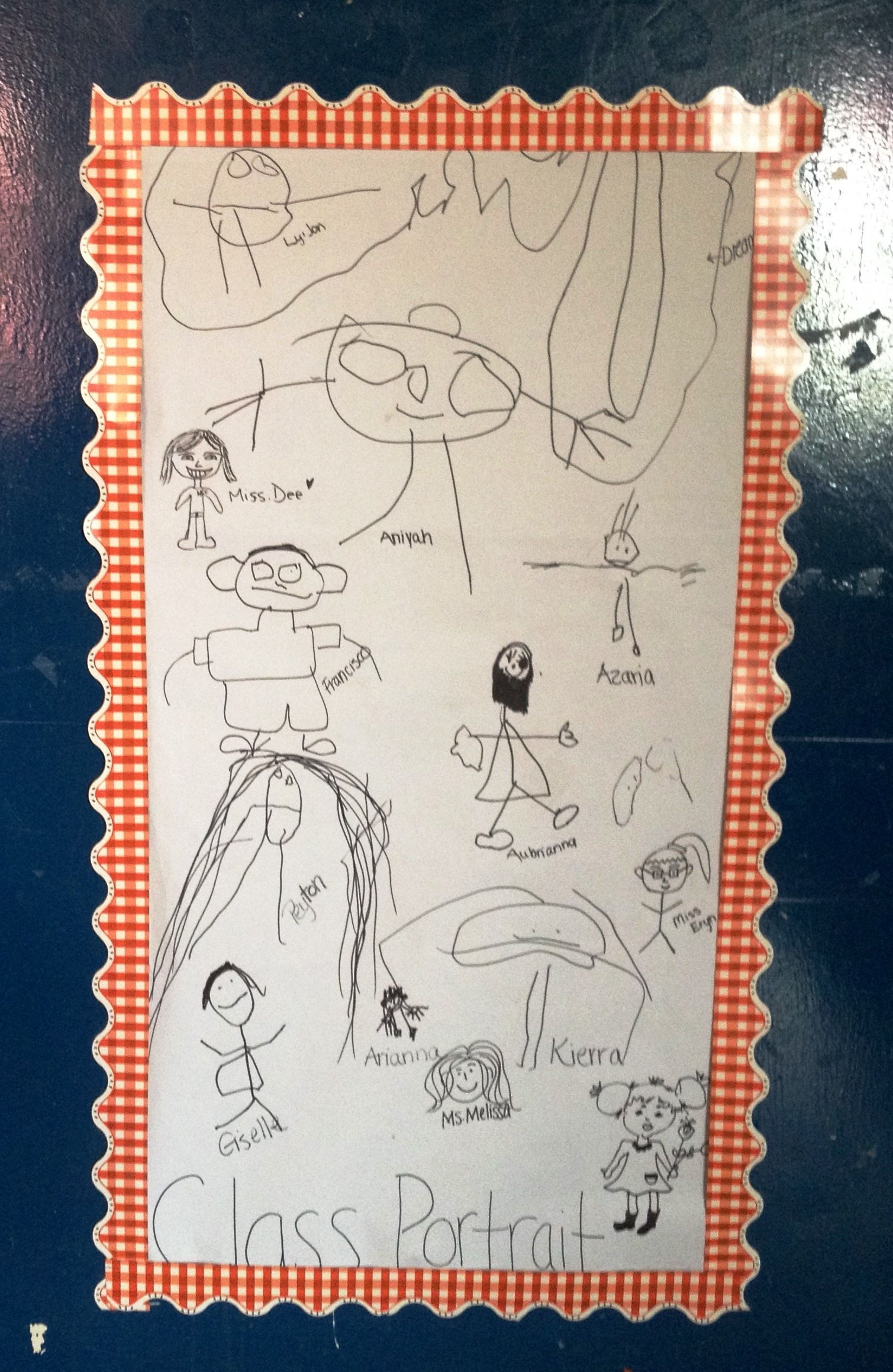 Class Portrait Each Child Participate By Drawing A Self