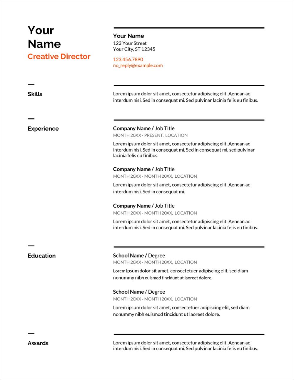 Cv Resume Example Doc