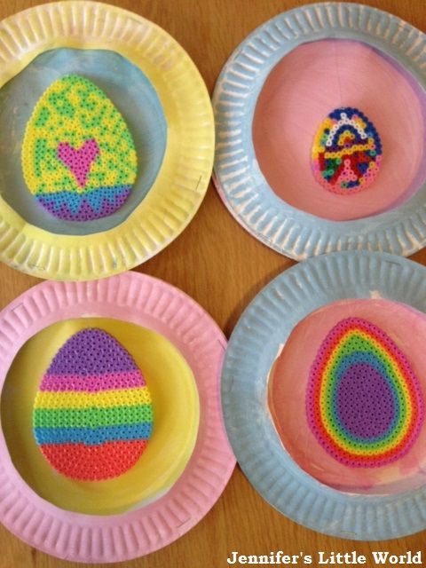 Simple Easter decorations for children to make using Hama bead Easter Eggs and paper plates  sc 1 st  Pinterest & Hama bead and paper plate Easter decorations | Hama beads Easter ...
