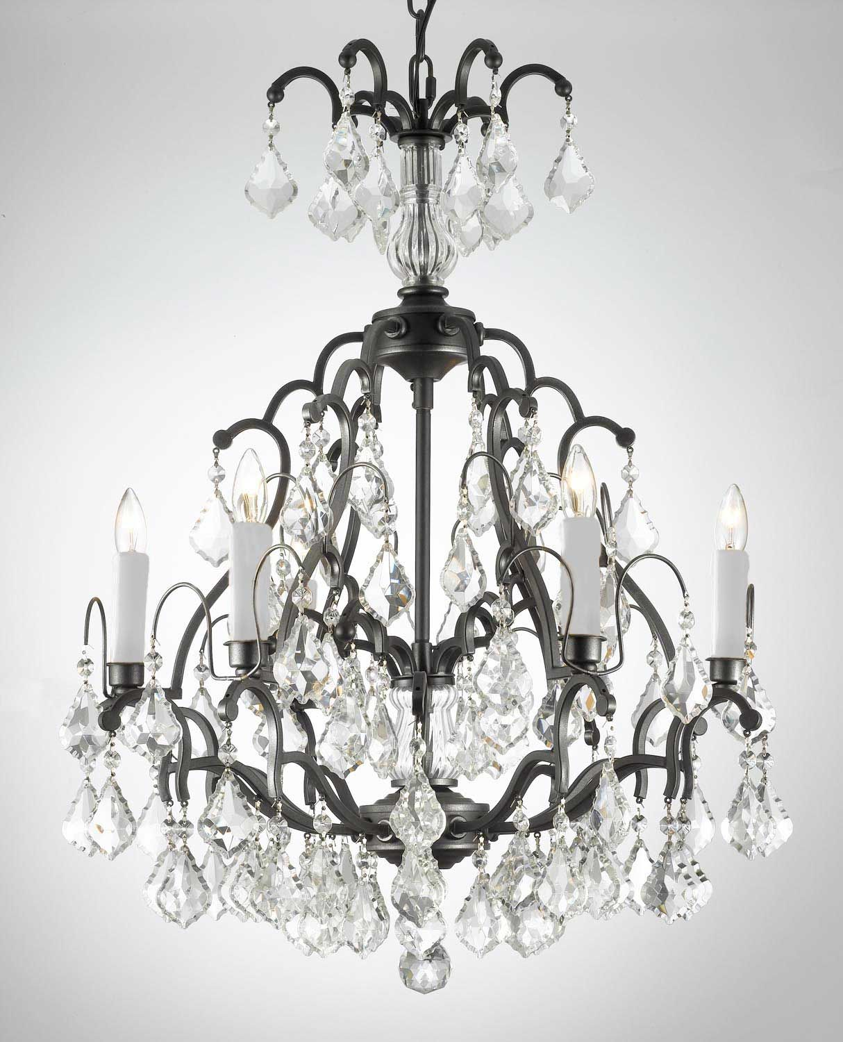 G7 443 6 Wc Gallery Wrought With Crystal Versailles Iron Chandelier