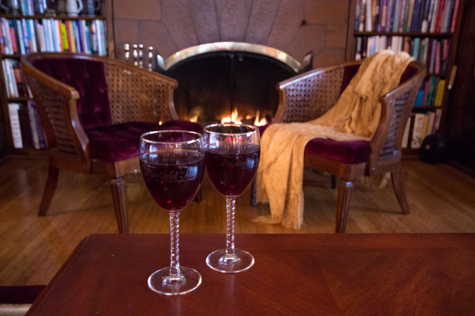 Wine by the fire at the Firelight Inn on Oregon Creek Bed