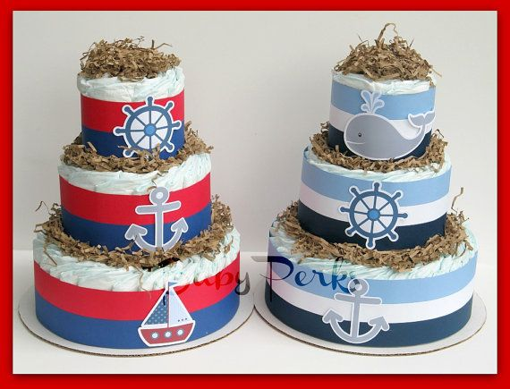 Nautical Diaper Cake, Nautical Baby Shower , Sailboat Theme, Baby Shower  Decorations, Whale