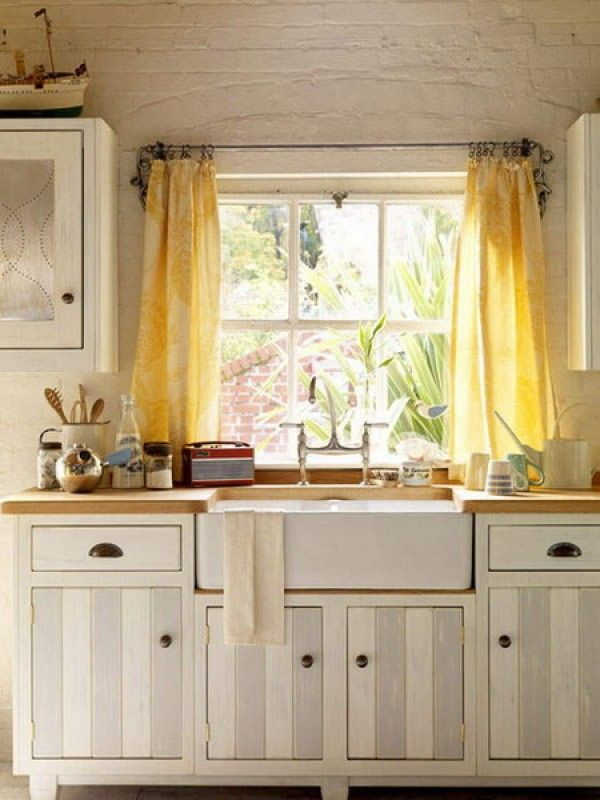 Sweet small kitchen window ideas curtain comfortable for Curtain styles for small windows