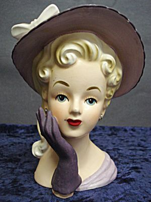 Relpo Head Vase Lady In Purple Head Vase Ceramic Lady Heads Porcelain