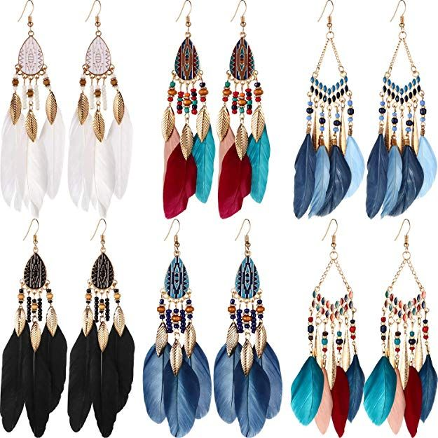 Women Teen Girls Brown Tassel Drop Earrings Bohemian Dangle Tassel Earrings