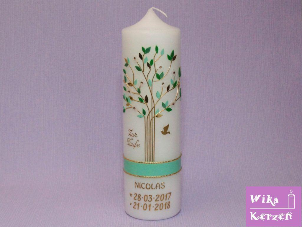 Taufkerze Kommunionkerze Lebensbaum Baum Des Lebens Mit Taube 1