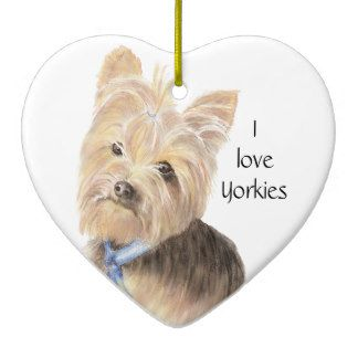 Yorkshire Terrier Christmas Ornament I Love Yorkies Yorky