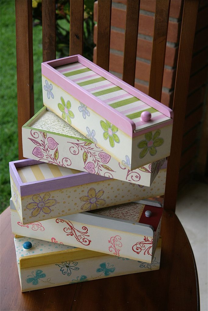 Cartucheras Pintura sobre madera Pinterest Cartucheras Cajas