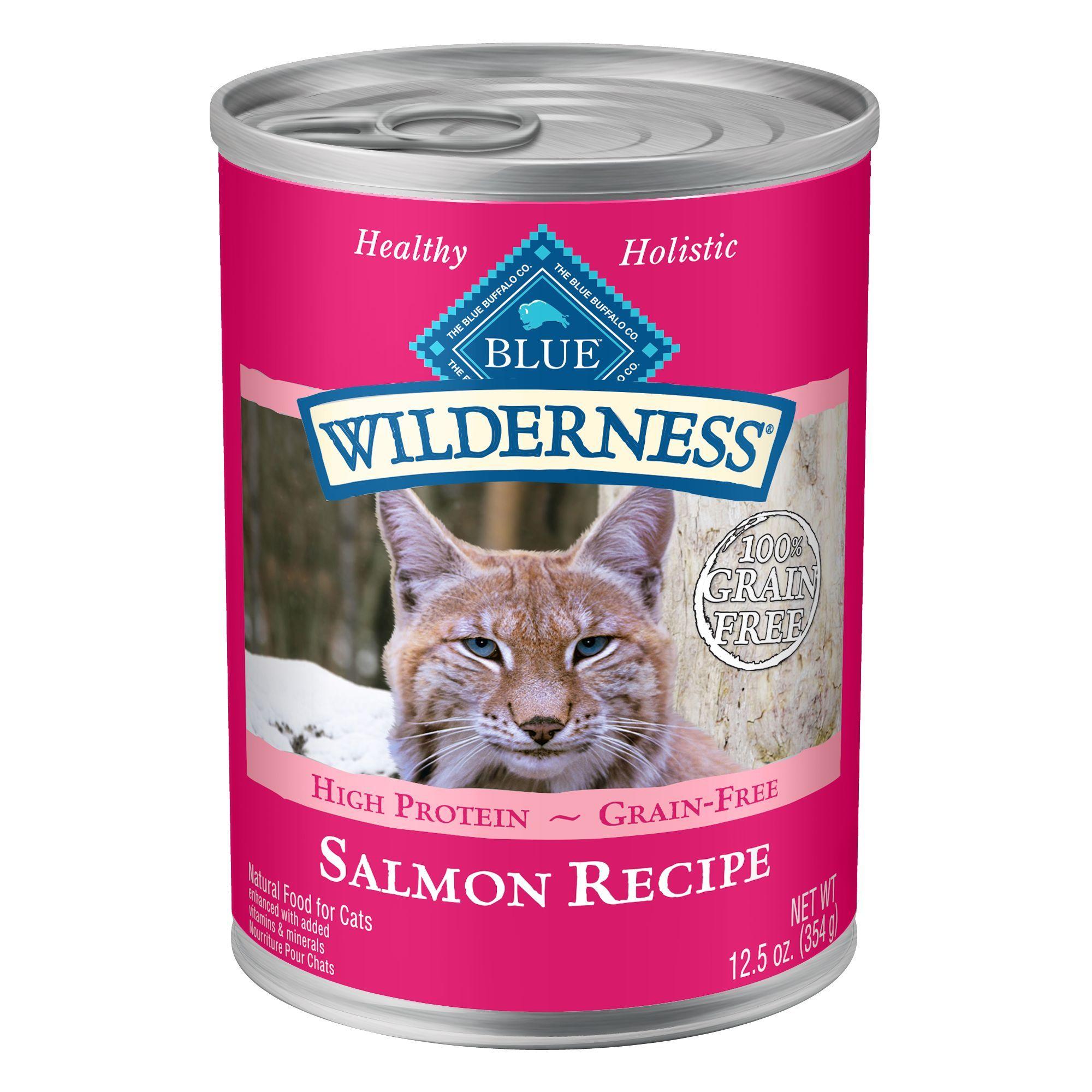 Blue Buffalo Wilderness Adult Cat Food Natural Grain Free Salmon Size 3 Oz Blue Salmon 1 10 Yrs Canned Cat Food Cat Food Salmon Recipes