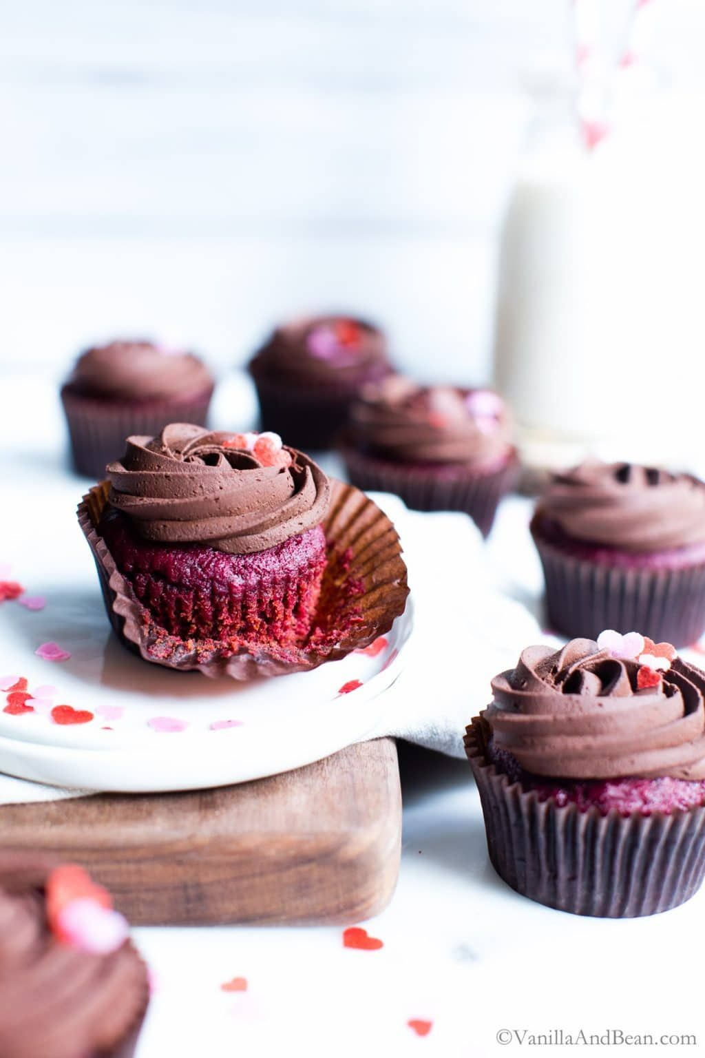 Vegan Beet Red Velvet Cupcakes With Whipped Chocolate Ganache Vanilla And Bean In 2020 Whipped Chocolate Ganache Chocolate Ganache Red Velvet Cupcakes