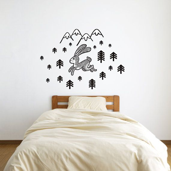 Rabbit Wall Decal Wall Sticker Rabbit And Mountains Black Forest Home Decor Wild Animal Kids Room Decor Nursery Wall Decal