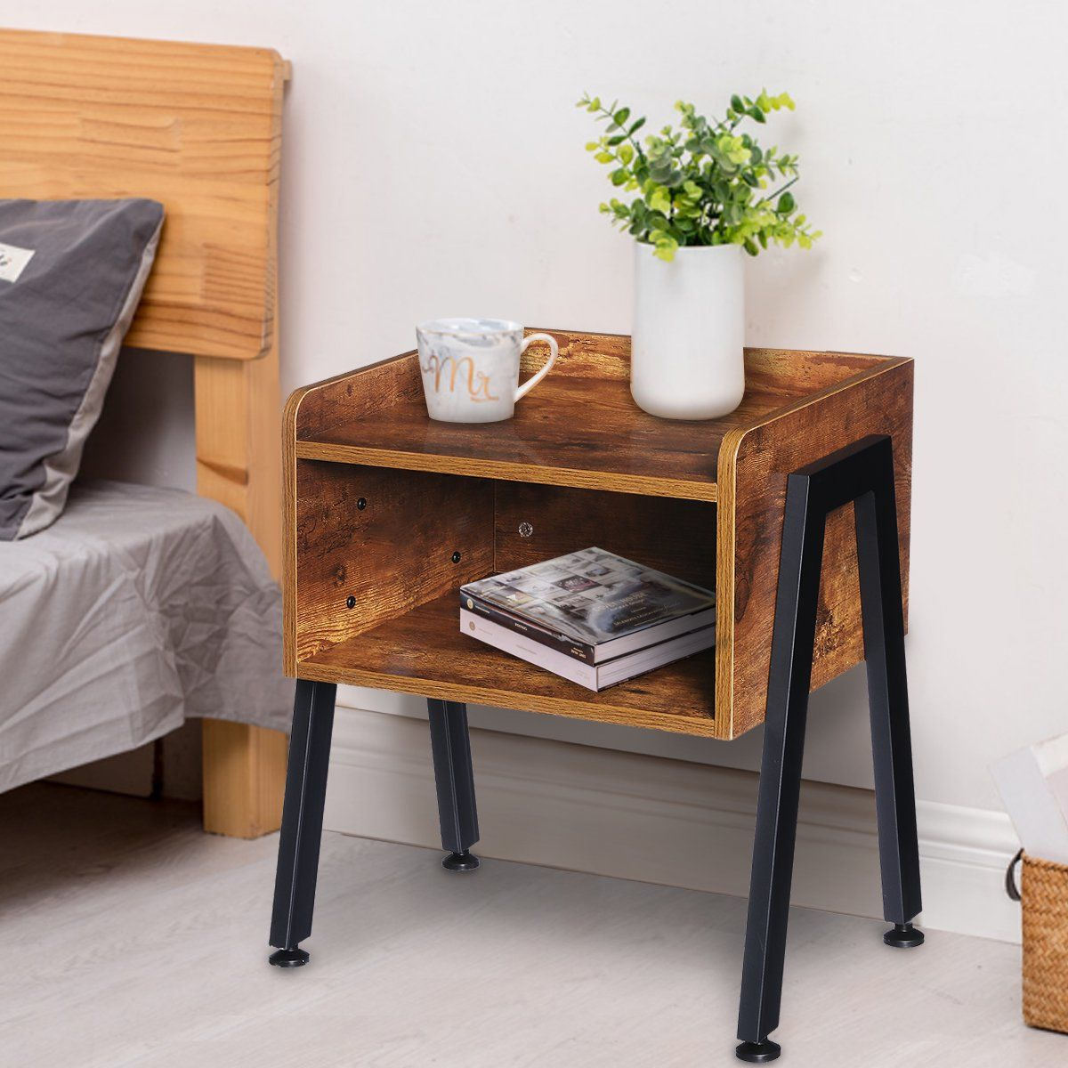 Industrial Nightstand End Table Stackable Side Table Night Stands