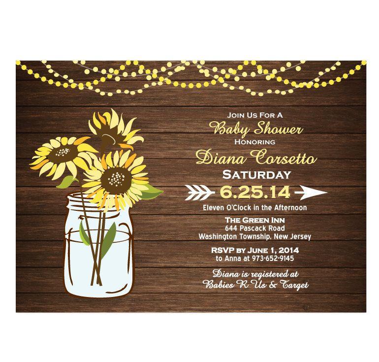 Wood Sunflower Baby Shower Invitation DIY PRINTABLE Digital File or ...