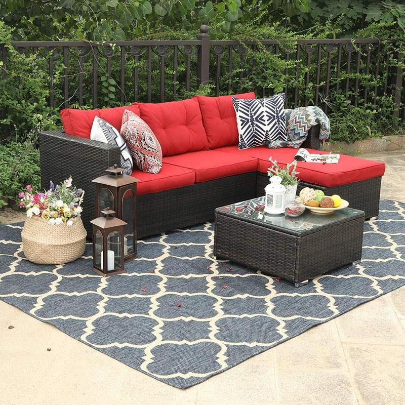 Phi Villa 3 Piece Rattan Outdoor Sectional Sofa Set Red Patio Furniture Teak Patio Furniture Wicker Patio Furniture Set