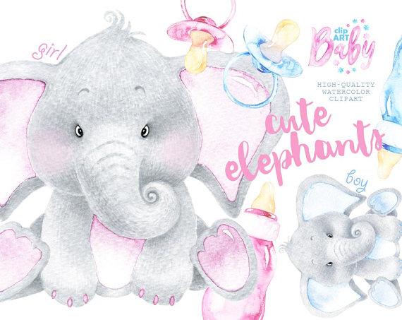 Watercolor Baby Elephant. Cute animal clipart nursery ...
