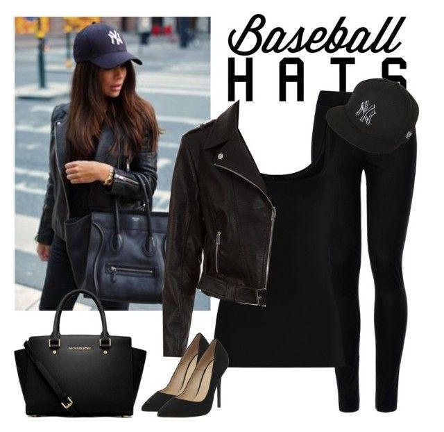 """Baseball Hat Style"" by pink1princess ❤ liked on Polyvore featuring Wolford, Twenty, New Era, New Look, MICHAEL Michael Kors, Office, baseballcap and baseballhats"