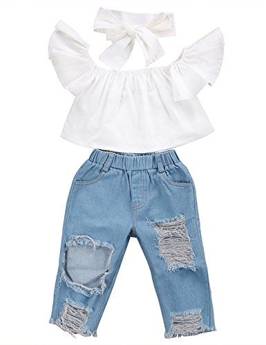 3100e6571f5b CaNIS 3pcs Baby Girls Kids Off Shoulder Lotus Leaf Top Holes Denim Jeans  Headband Outfits Set 12Y White * More info could be found at the image url.