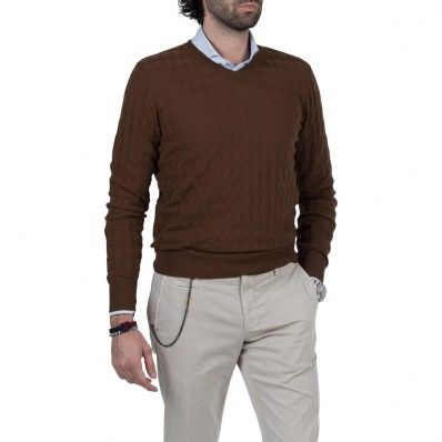 Brown 3D Diamonds 100% Cotton V-Neck Sweater | Fashion | Pinterest