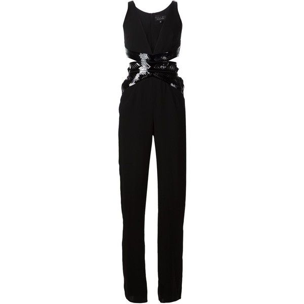 Iris Van Herpen 'Waspie' jumpsuit (9.415 ARS) ❤ liked on Polyvore featuring jumpsuits, jumpsuit, playsuits & jumpsuits, black, jumpsuits & rompers, romper jumpsuit, sleeveless romper, sleeveless jumpsuit and black sleeveless jumpsuit