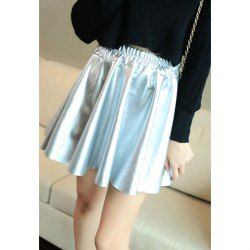 Solid Color Modern Style Pleated PU Leather Skirt For Women