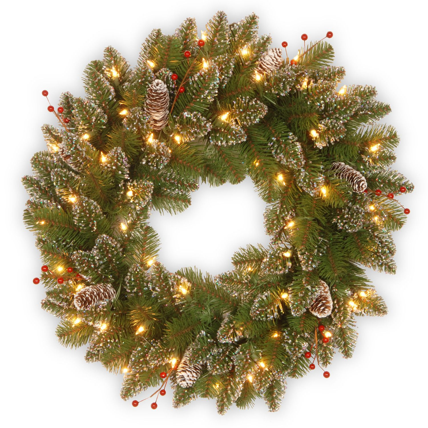 Wonderful Battery Lighted Christmas Wreaths Collection : Glittery ...