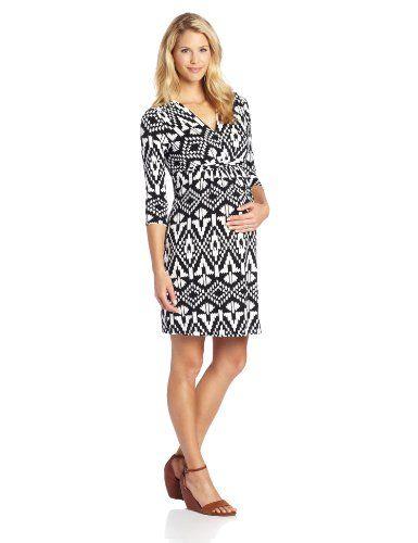 Three Seasons Maternity Womens Maternity 3//4 Sleeve Vneck Solid Dress
