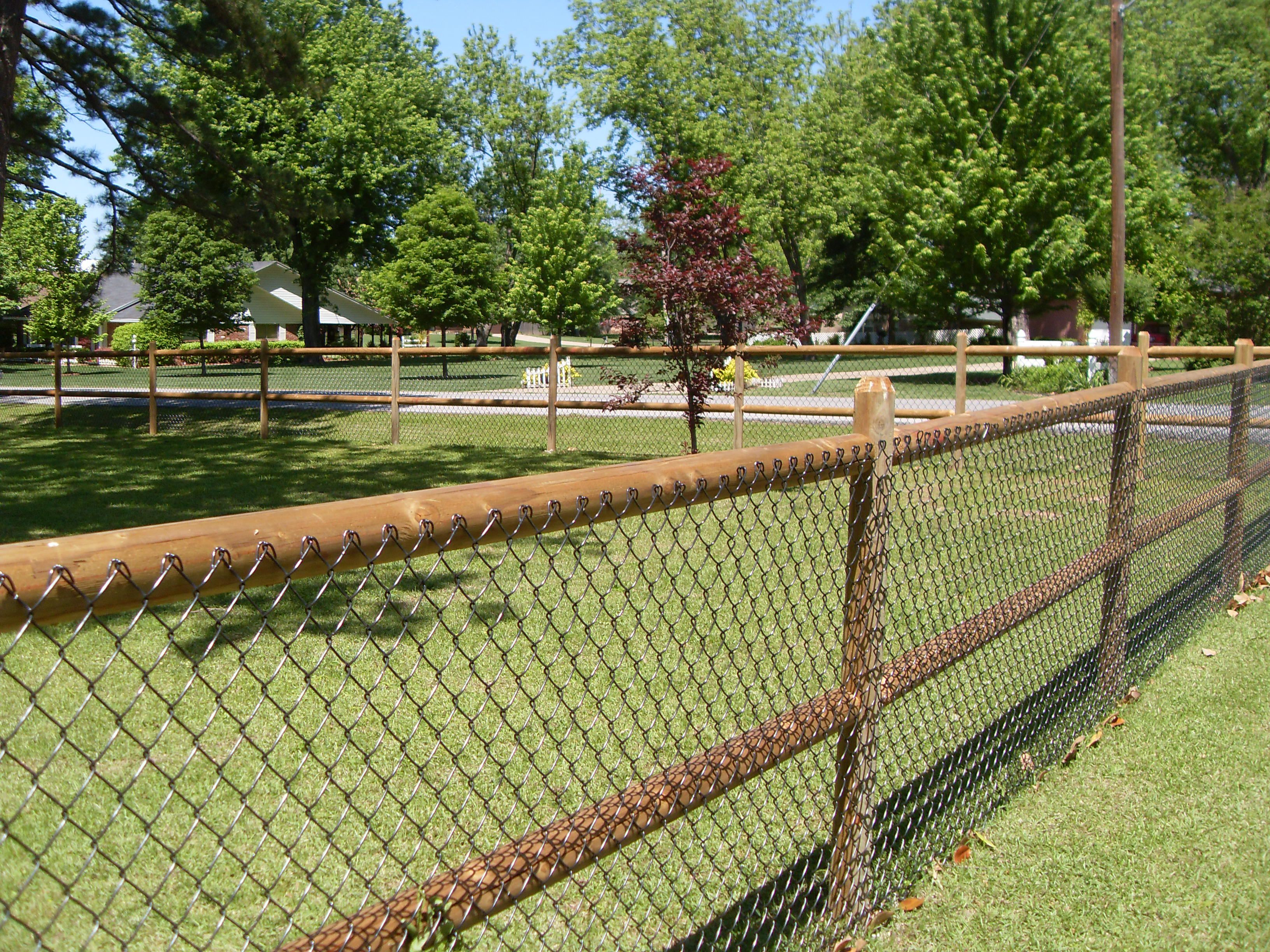 2 rail wood fence with chain link | Fences, Gates, Screens ...