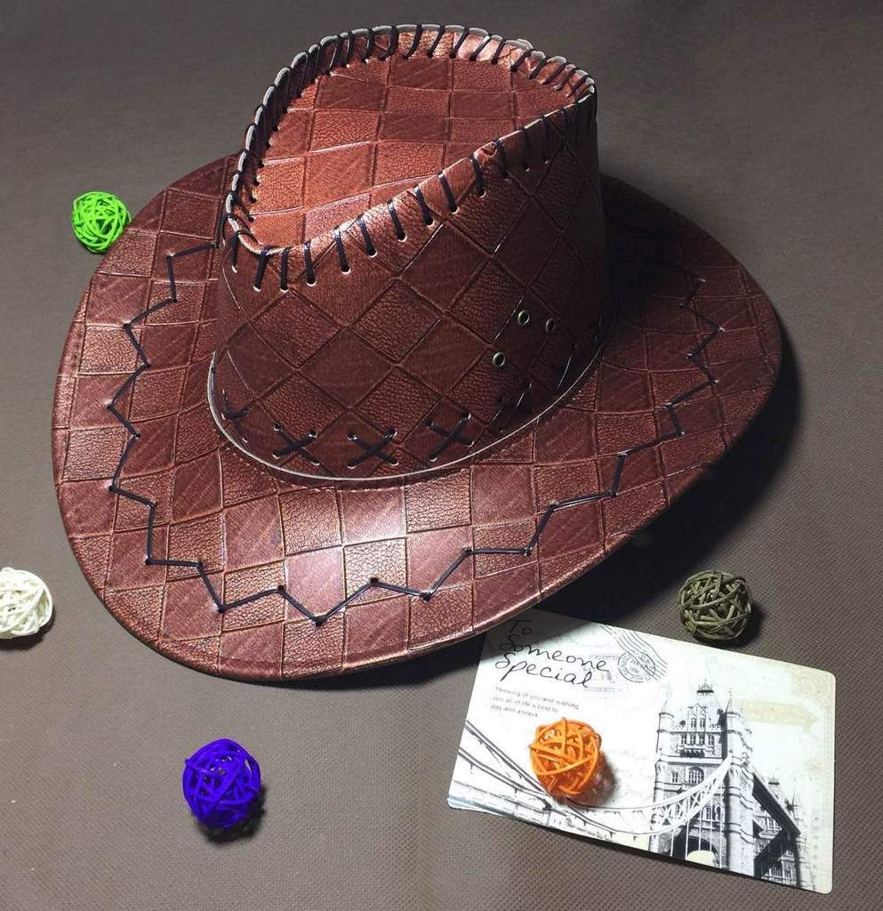 bd62339dad62c Men Cowboy Designer Leather Hat  Immaculate Stitching and Curved Brim