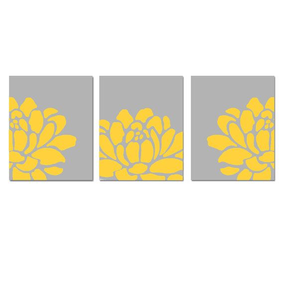 yellow accent wall art..I might like this for the guest bedroom ...