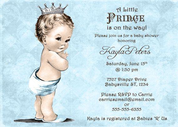 Vintage Baby Shower Invitation For Boy Prince Crown Blue