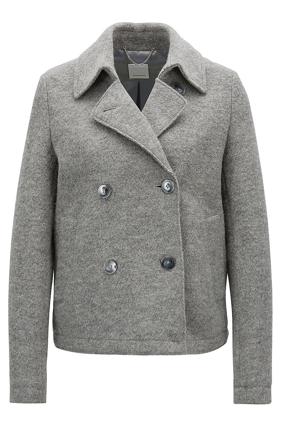 514bc59667951 Caban-style coat in virgin wool with detachable belt - Silver Jackets and  Coats from BOSS for Women for £299.00 in the official HUGO BOSS Online  Store free ...