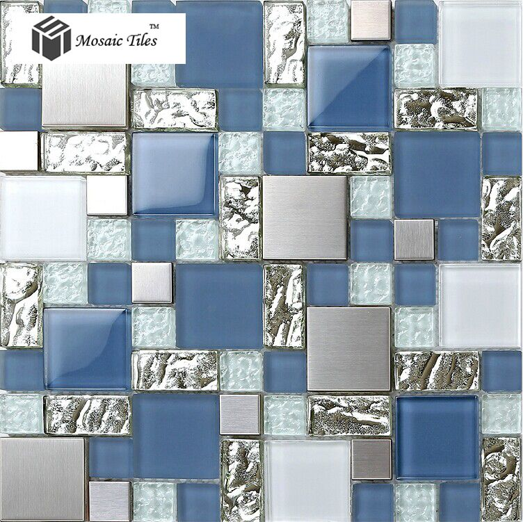 tst glass metal tile blue silver steel frsoted glass mosaic home background bath hotel decor art