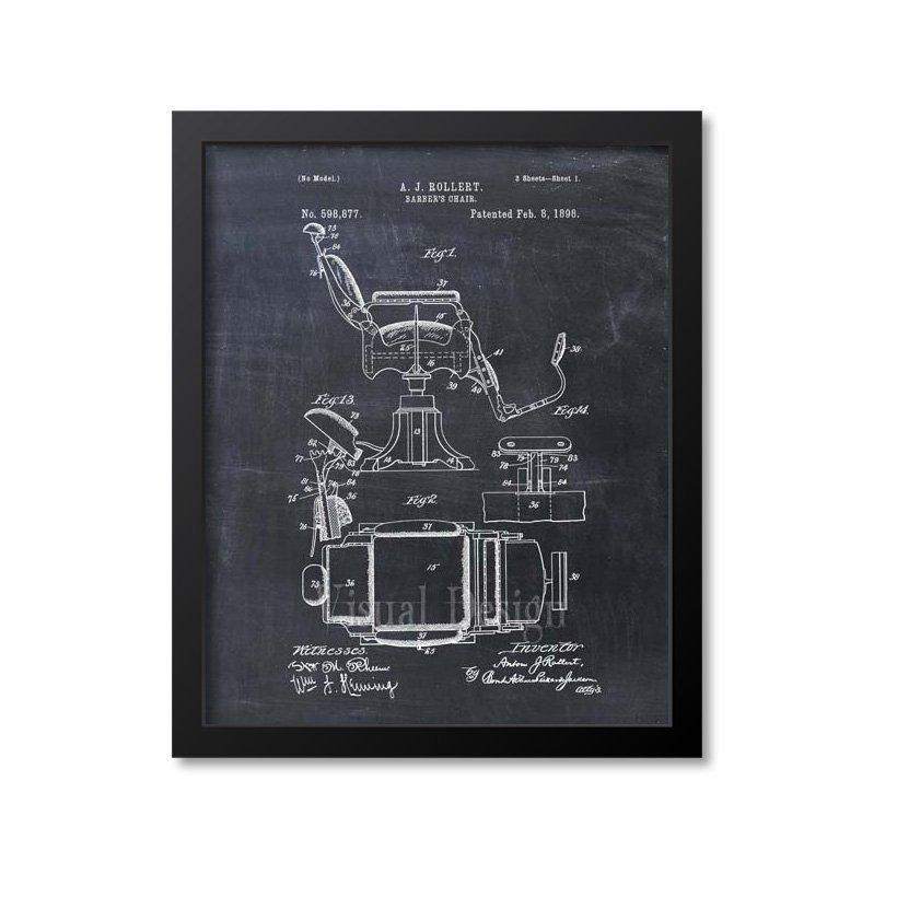 Barber chair patent print 1898 patent prints handmade