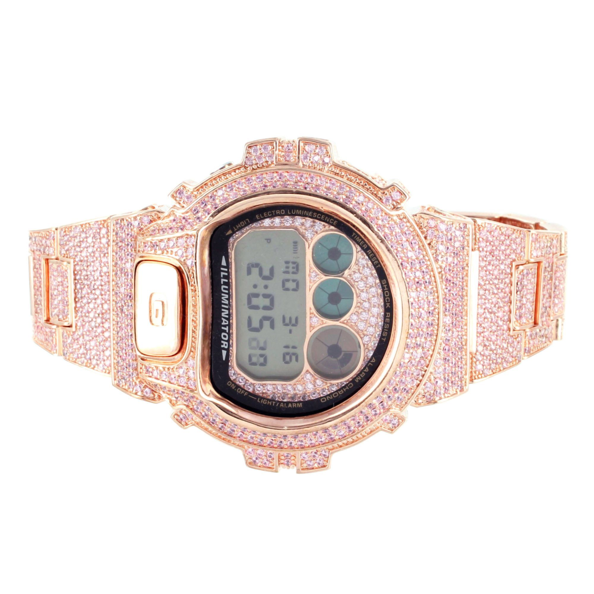3d9693110c5b This is a womens pink simulated lab diamond G-shock Watch attached with an iced  out metal band. Stock: V0001 SKU: 271872065799 Make: G-Shock Watch ...