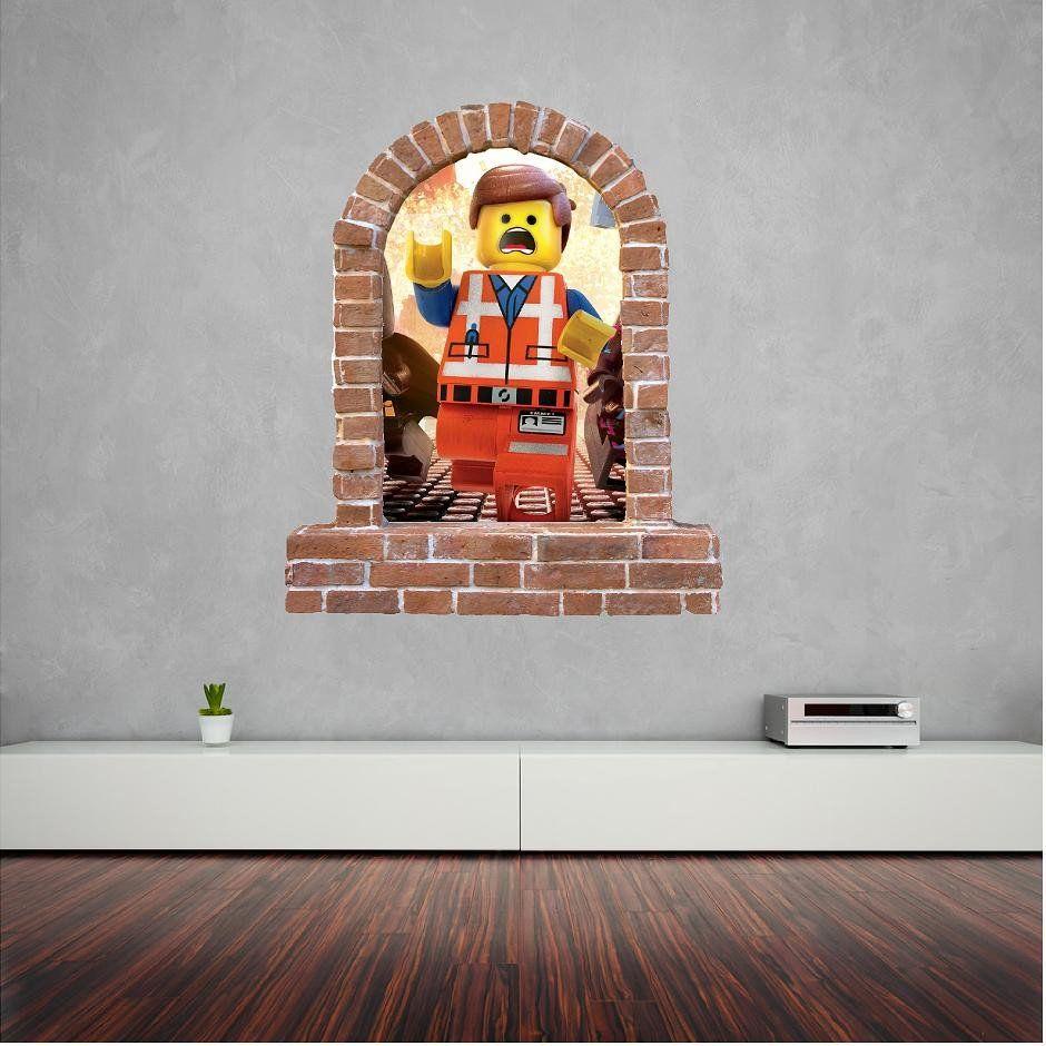 Lego emmet stickers brick window wall sticker decal